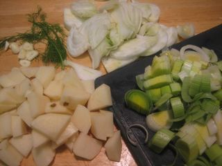 chopped fresh fennel, leeks, potatoes & garlic