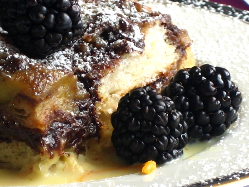 Chocolate & Orange Croissant Pudding with a Grand Marnier-Orange Cream sauce