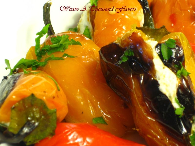 Roasted Sweet Peppers with Goat Cheese & Chives