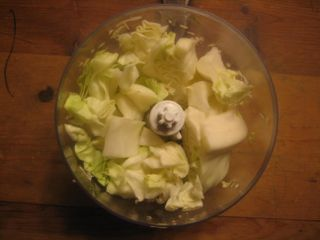 Add cabbage chunks in chopper
