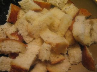 cut bread for croutons