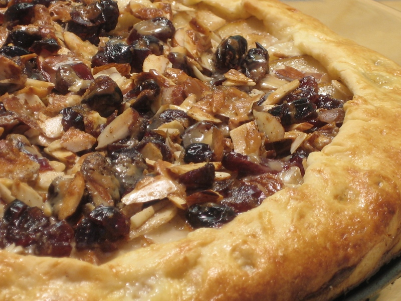 Rustic Pear Tart with Cranberry, Almond & Butterscotch drizzle