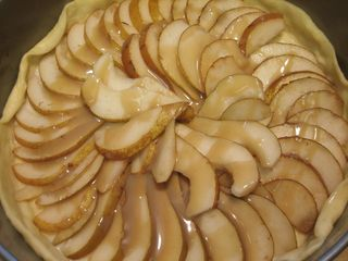 Drizzle butterscotch over pears