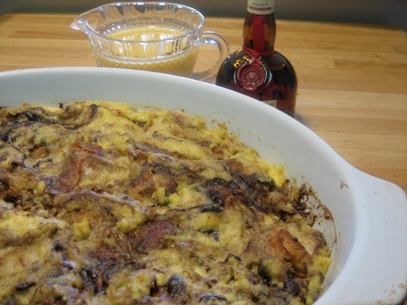 Out of the oven - Chocolate & Orange Croissant Pudding with a Grand Marnier-Orange Cream sauce