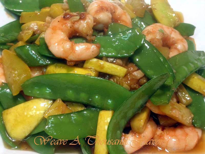 Yellow squash, snow peas & shrimp stir-fry medley