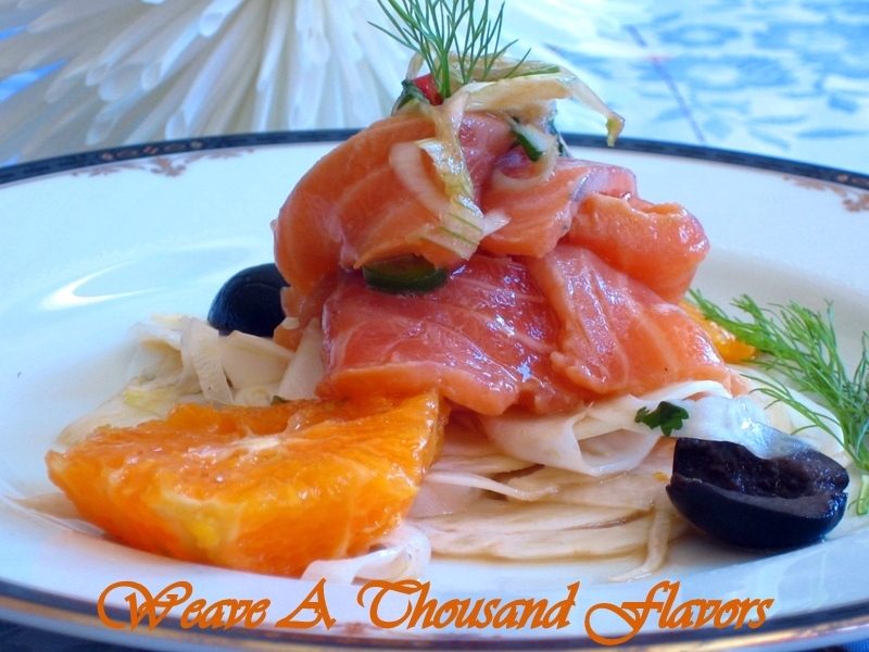 Fennel & Tangerine Salad with Asian Style Salmon Ceviche