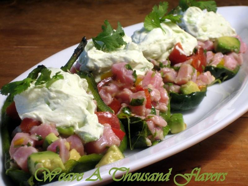 Tuna Ceviche Chile Rellenos with Avocado Cream