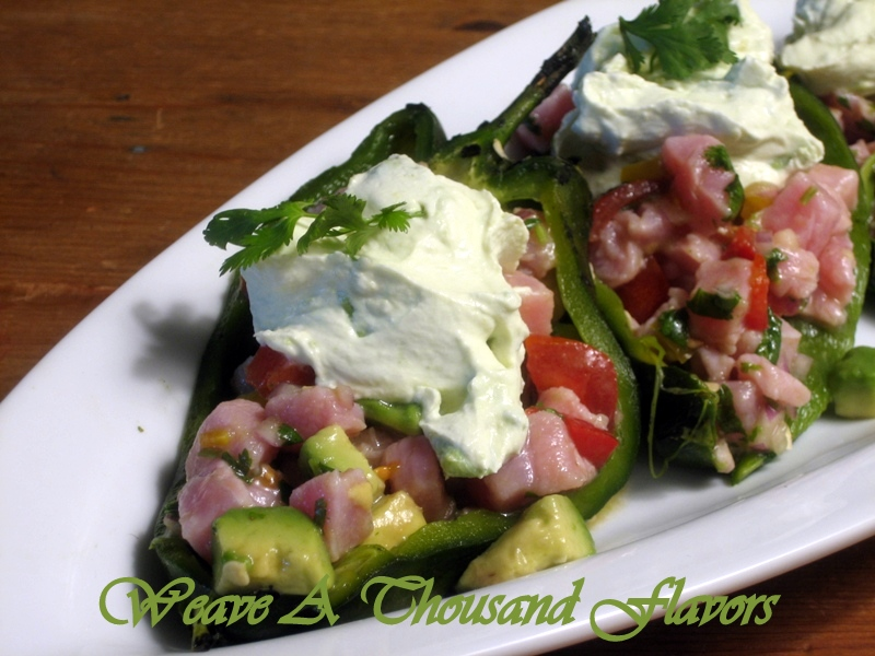 Tuna Ceviche Chile Rellenos with Avocado Cream