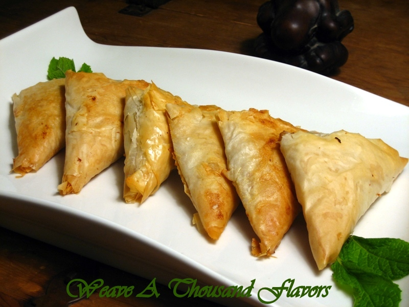 Chicken, Avocado, Sundried Tomatoes & Feta Stuffed Phyllo Triangles