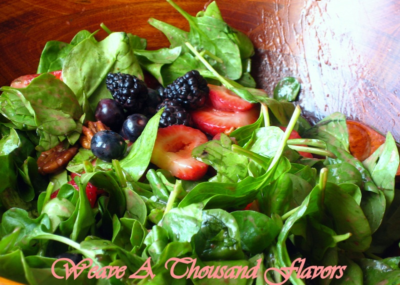 Spinach & Berries Salad with Strawberry, Orange & Ginger Vinaigrette