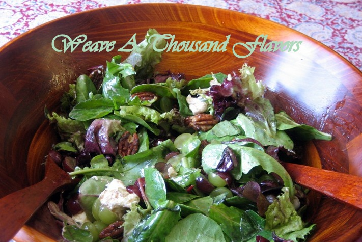 Mixed Greens with Grapes, Goat Cheese, Candied Pecans & Balsamic Vinaigrette