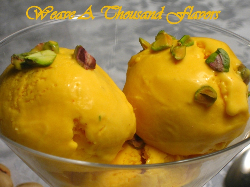 Alphonso Mango, Saffron & Pistachio Ice cream