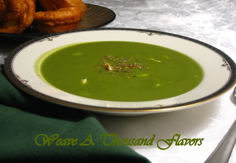 Chilled Pea & Mint Soup with Goat Cheese & Pink Peppercorns