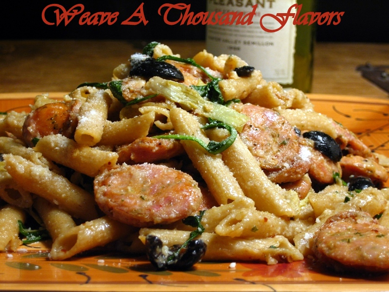 Whole Wheat Penne Pasta tossed with Chicken Sausage, Artichokes & Arugula
