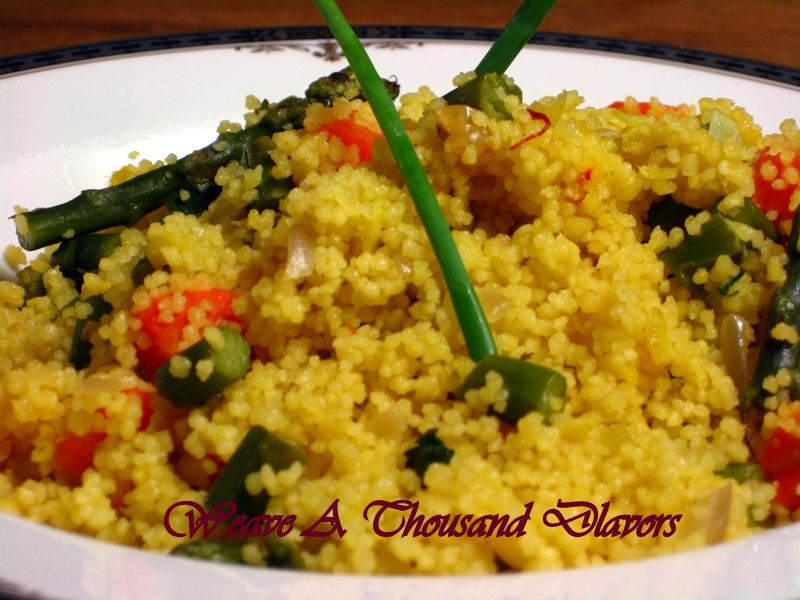 Saffron Infused Couscous with Asparagus & Raisins