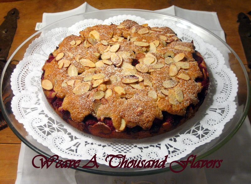 Cake with Almonds and Raspberries