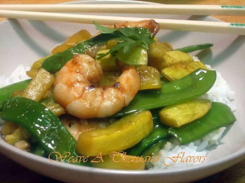 Yellow squash, snow peas & shrimp stir-fry medley