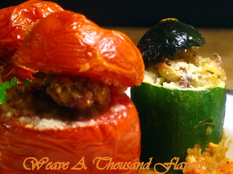 A colorful display of Stuffed Courgettes & Tomatoes