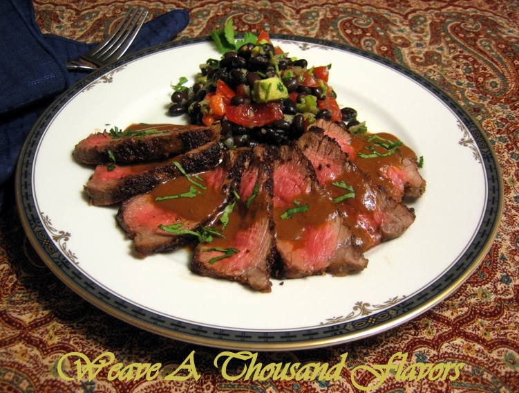 Cumin-Coriander Crusted Beef Steak with Mexican Mole Sauce