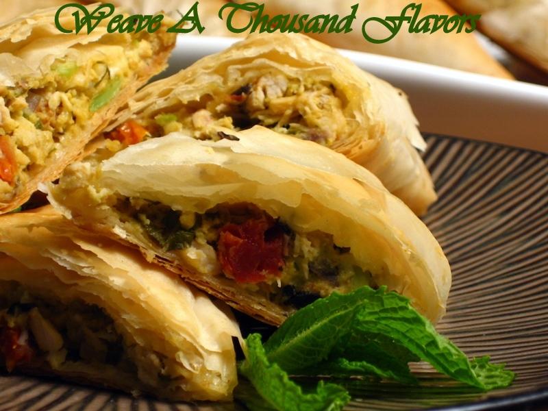 Chicken, Avocado, Sundried Tomatoes  & Feta Stuffed Phyllo Triangles