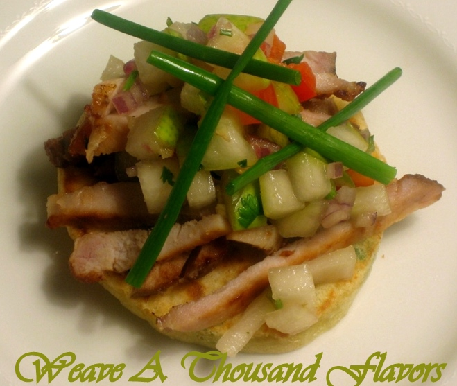Roast Pork Tenderloin on Blinis with Chipotle Mayonnaise & Pear salsa