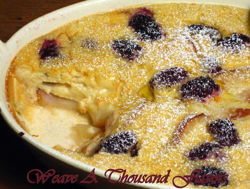 Flaugnarde Dearies with Pears & Blackberries