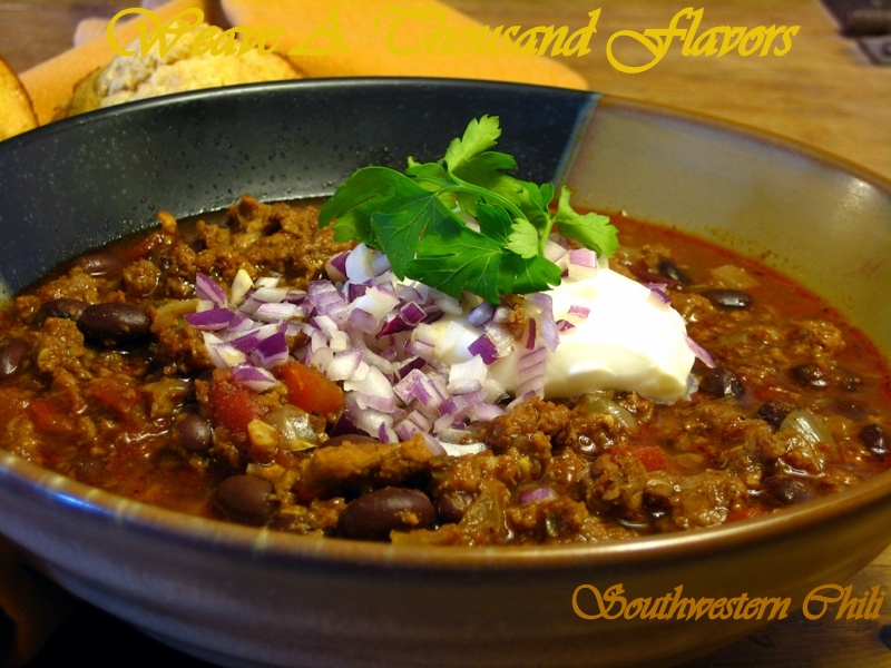 Southwestern Chili - A Spicy Stew with a variety of Meats, Chiles, Beer & Black Beans