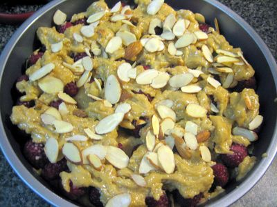 Raspberry & Almond Cake - Remaining batter over berries & almonds on top