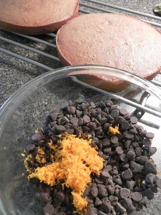 Ganache  - Combine chocolate chips, zest & liquer