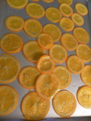 Candied oranges  - Allow to cool on baking tray