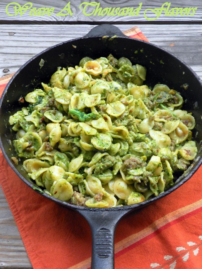 Orecchiette with Italian saisage & Rapini-Pistachio Pesto - 01