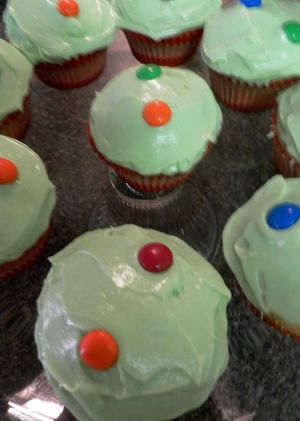 Spidery cupcakes - press down m&m's