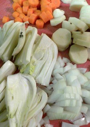 Leftover Chicken, Fennel & Sweet Potato Soup - Cut veggies