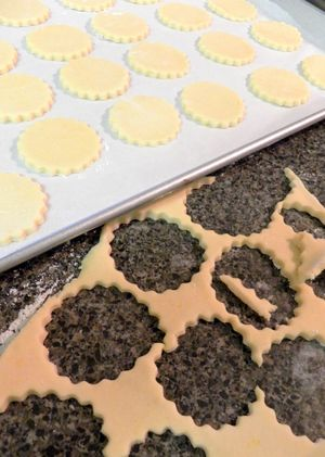 Alfajores - Cookies on baking tray