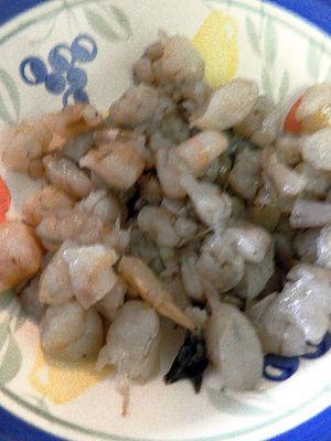 Curried Shrimp Devilled Eggs-Chop shrimp
