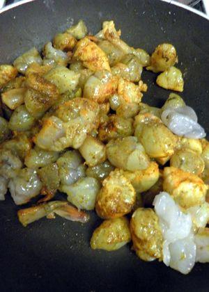Curried Shrimp Devilled Eggs- Saute shrimp