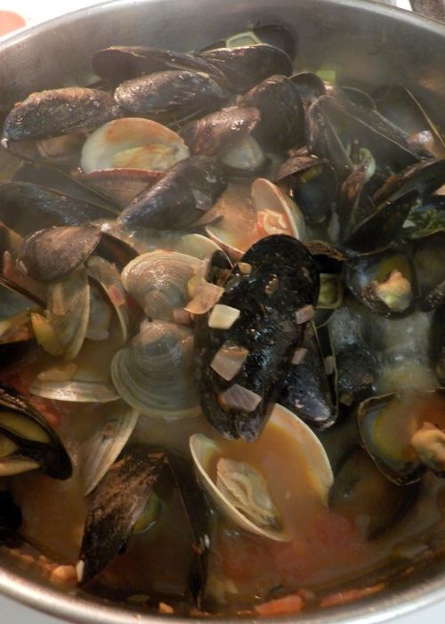 Tuscan Mussel & Clam Soup- Seafood cooked