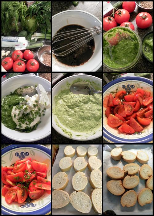 Herb Ricotta & Balsamic tomato Bruschetta collage