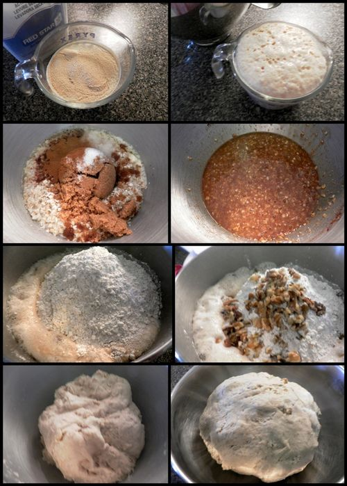Whole wheat, oatmeal & walnut bread - dough collage