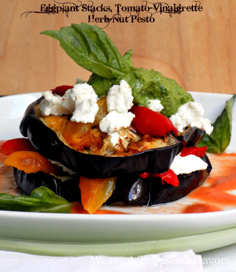 Roasted eggplant stacks, Tomato Vinaigrette, Herb-nut Pesto-03