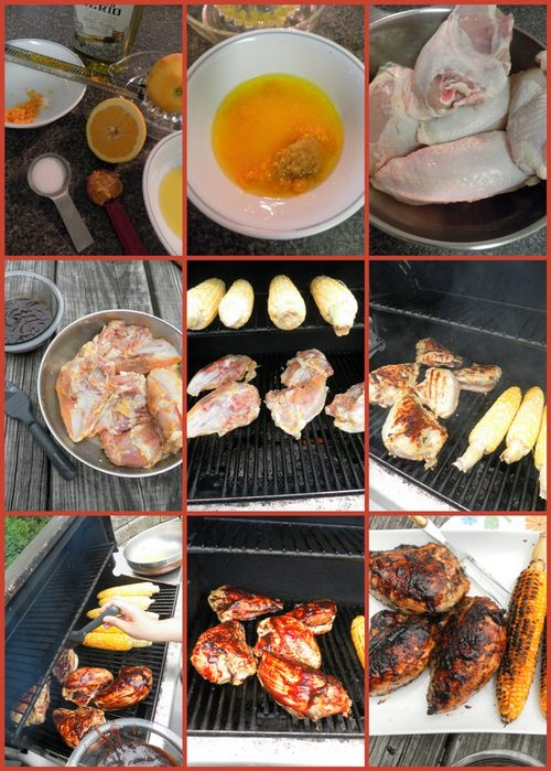 Chicken with raspberry balsamic BBQ sauce - collage