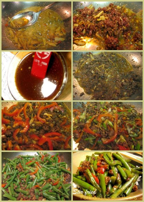 Stir-fried pork and green beans-collage2