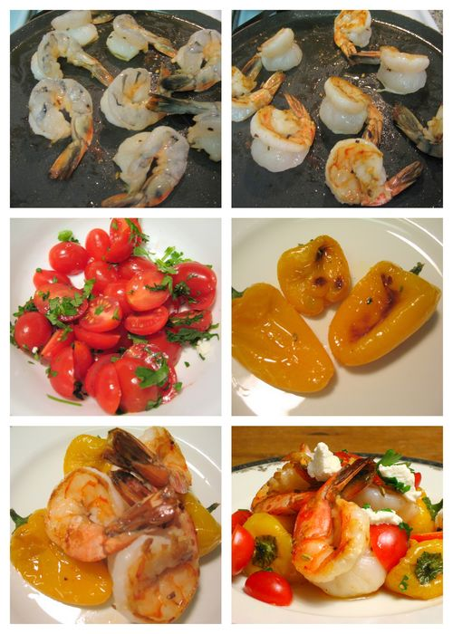 Colossal Prawns with Fennel, Roasted Peppers & Goat Cheese - Assembly Collage