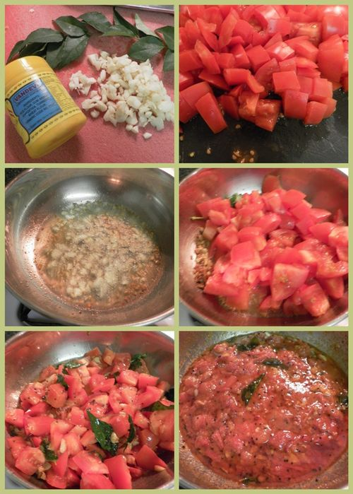 South Indian Style, Hot & Spicy Tomato & Garlic Chutney - collage