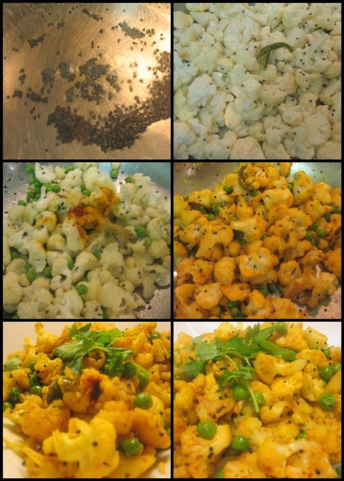 Guajarati style Cauliflower & Peas Vegetable - collage2