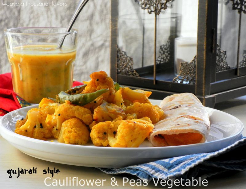 Guajarati style Cauliflower & Peas Vegetable2
