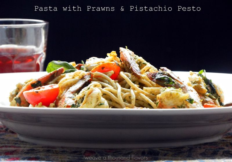 Pasta with Prawns & Pistachio Pesto