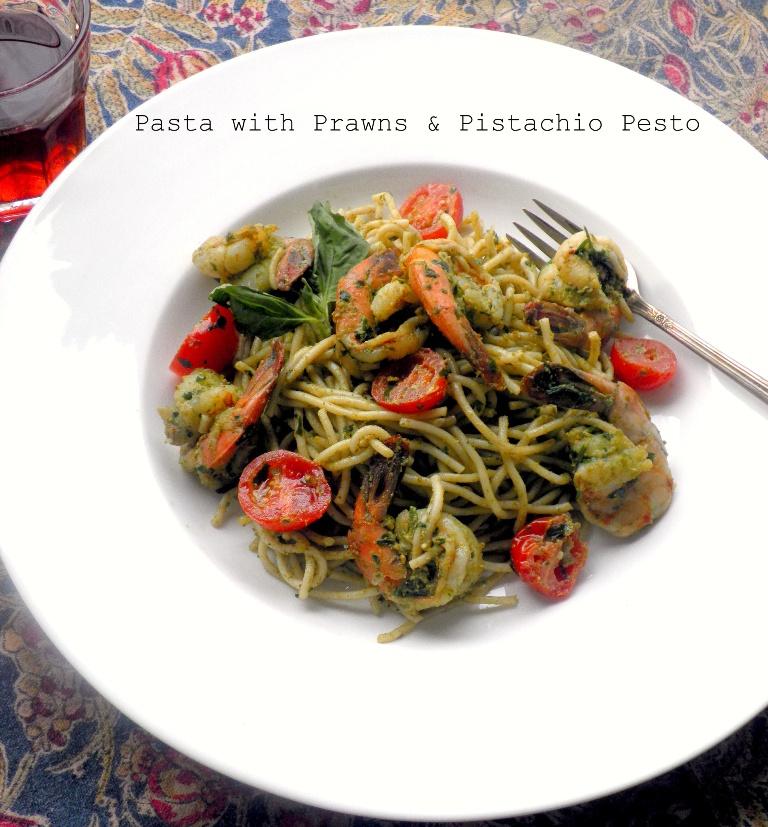 Pasta with Prawns Pistachio pesto