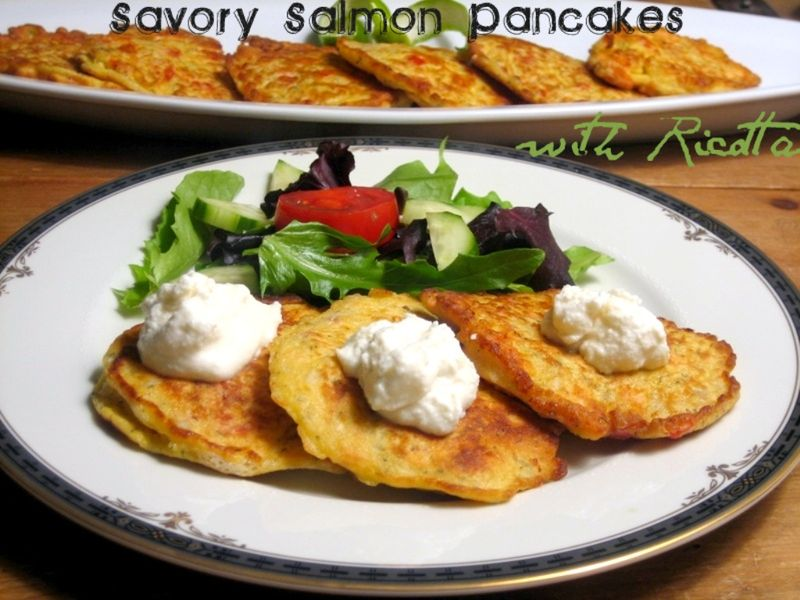 savory salmon pancakes with Ricotta