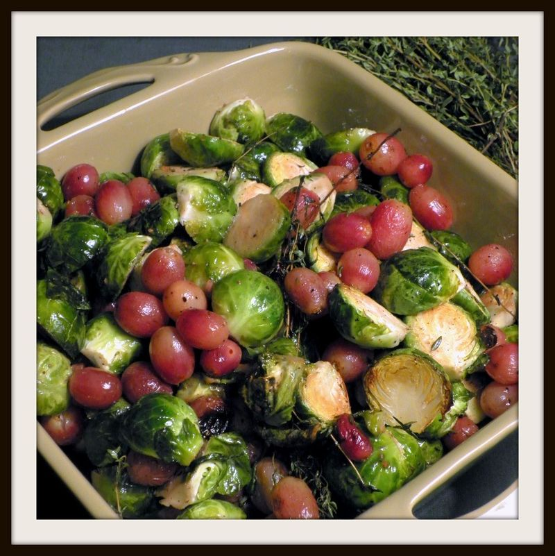 Roasted brussel sprouts with grapes